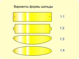 Варианты форм шильда на подставку